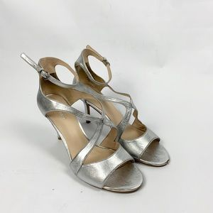 Silver ankle strap Nine West heels